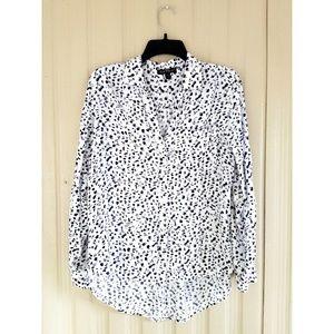 Button Down Leopard Print Blouse Top Shirt Purple
